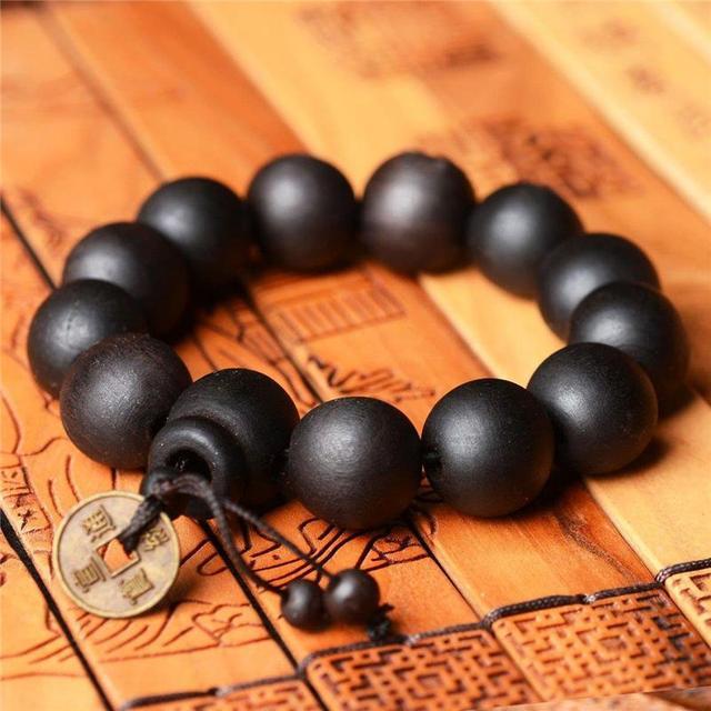 84ef02c8bea1 Pulsera budista de madera Buda pulsera Yoga cuentas pulseras cobre moneda  brazalete joyería hombres mujeres Mala