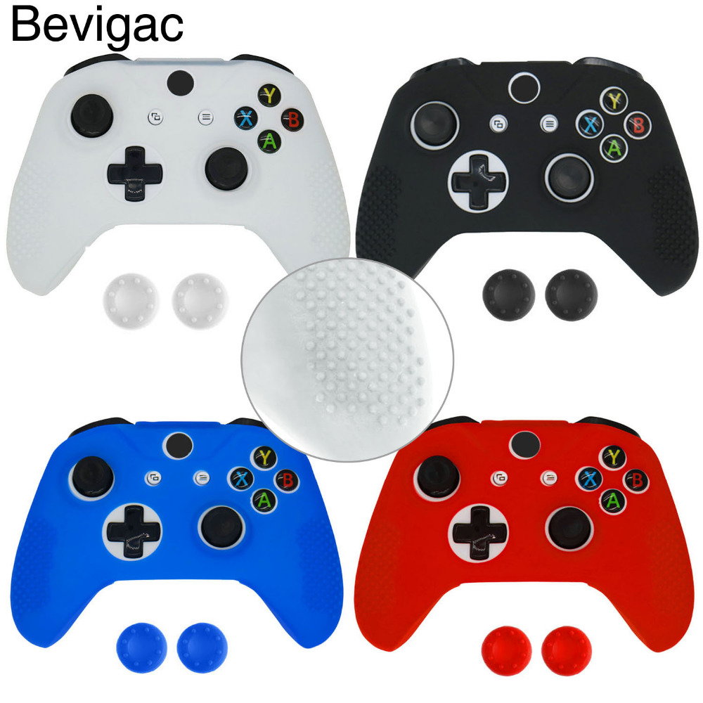 Bevigac Silicone Protective Sweat Resistant Case Cover Skin Shell for Xbox One S Slim X Controller with 2 Thumbsticks Stick Caps цена и фото