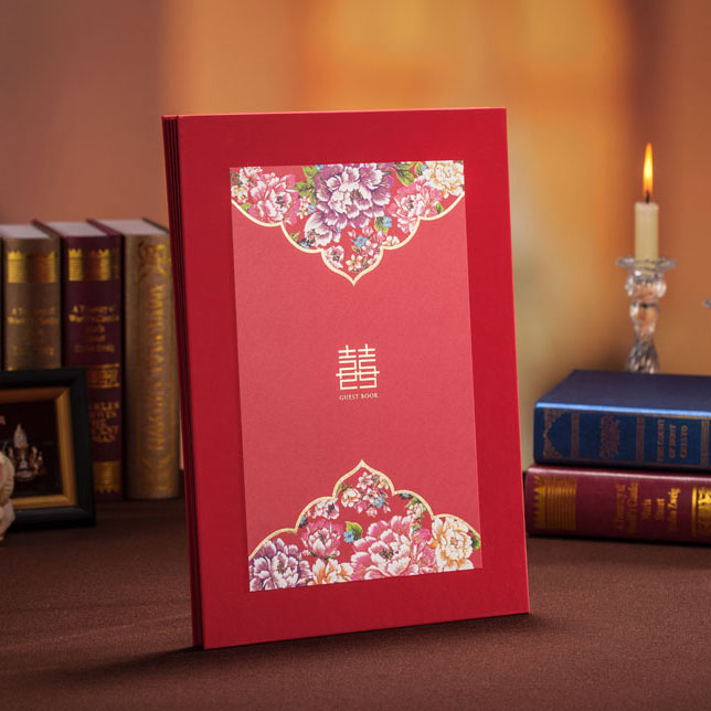 chinese style wedding day guest book with floral printing as wedding decoration guest signing book wedding