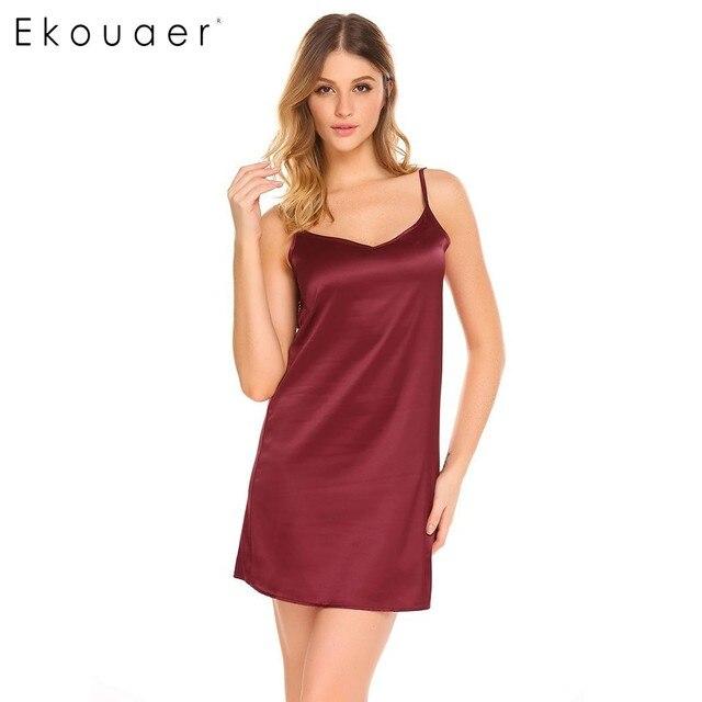 4f8f6a01730 Ekouaer Summer Nightgown Women Sexy Sleepwear Nightshirts V-Neck Lace  Nightwear Satin Chemises Slip Sleepwear Female Nighties