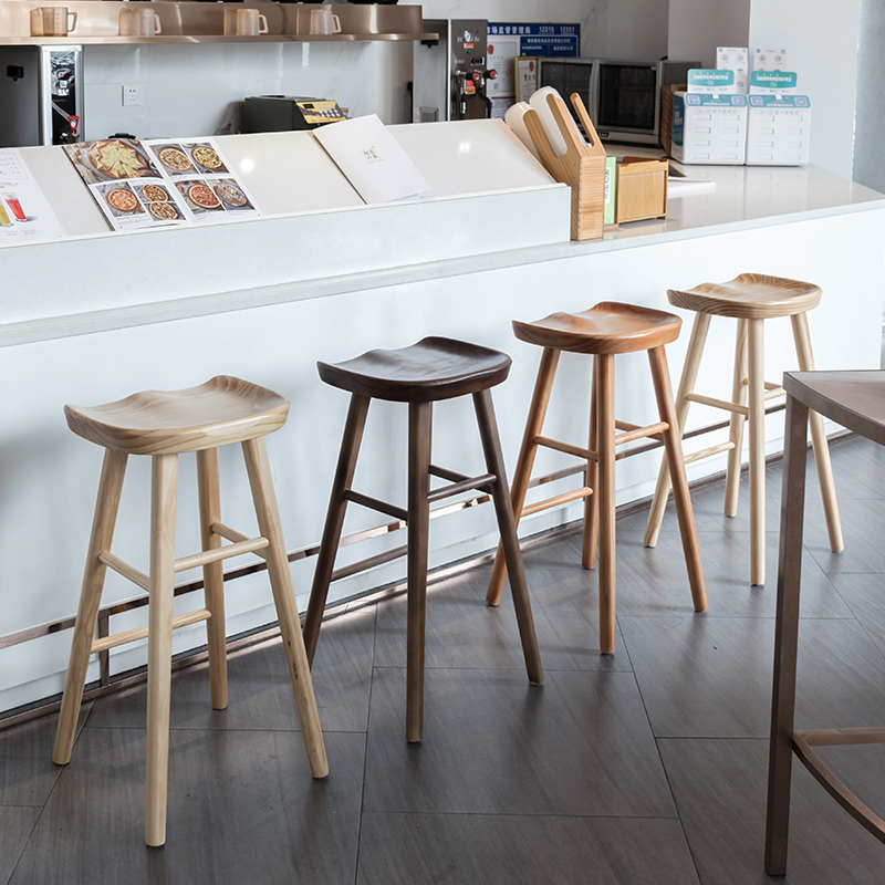 Bar Furniture Collection Here Nordic Style Modern Bar Counter Stool Full Solid Wood High Footstool Natural Pinewood Coffee Shop Minimalist Bar Stool For Home Bar Chairs