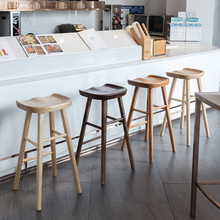 Nordic modern minimalist bar chair solid wood home creative high stool