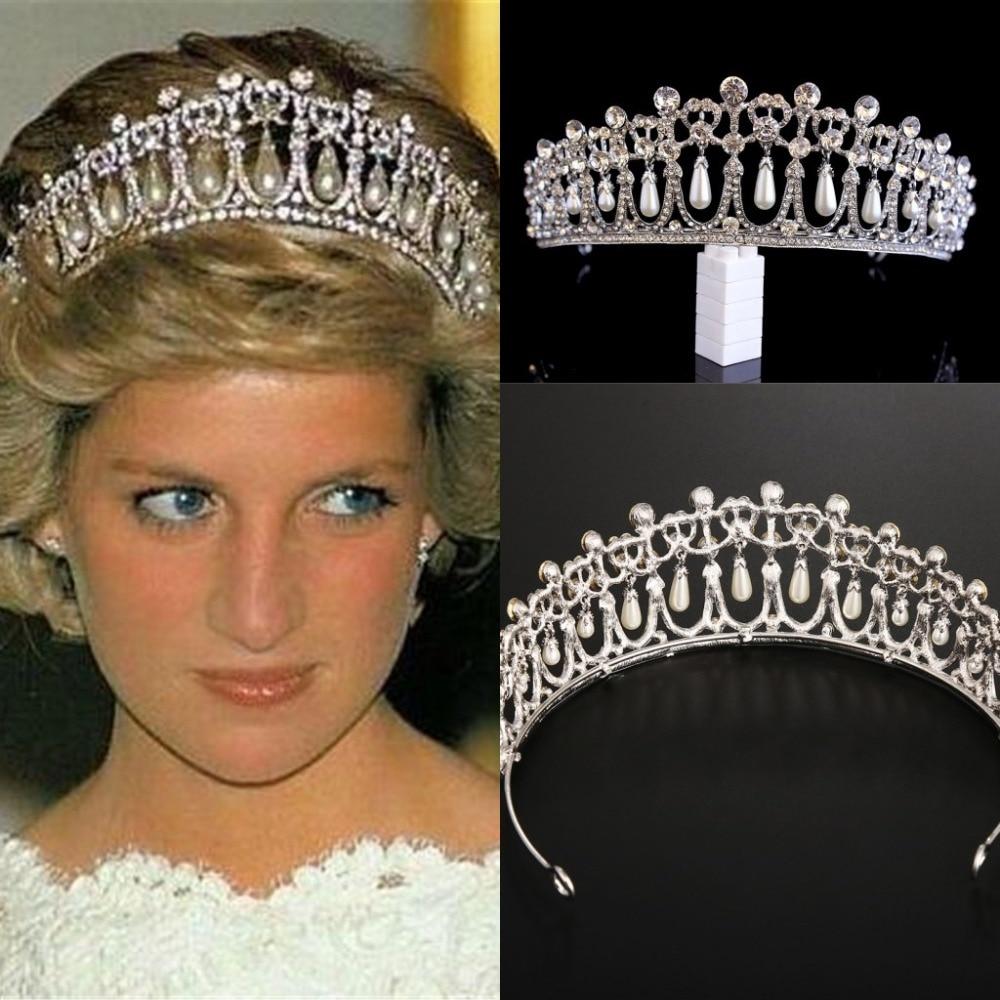 Vintage gümüş kaplama kraliçe prenses Diana taç kristal İnci Diadem gelin saç aksesuarları gelin Headbands Tiara De Noiva