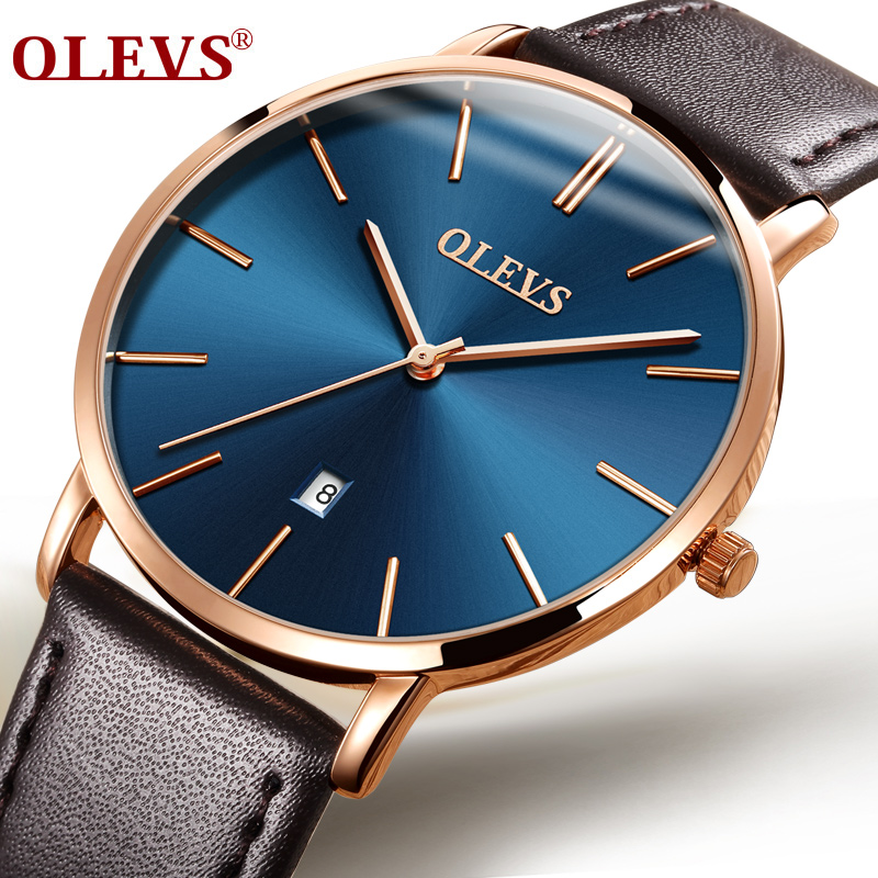 OLEVS Dress Quartz Watches For Men Automatic Date Male Clock Boy Watch Gold Color Case Genuine Leather Men Wristwatch Gift G5869