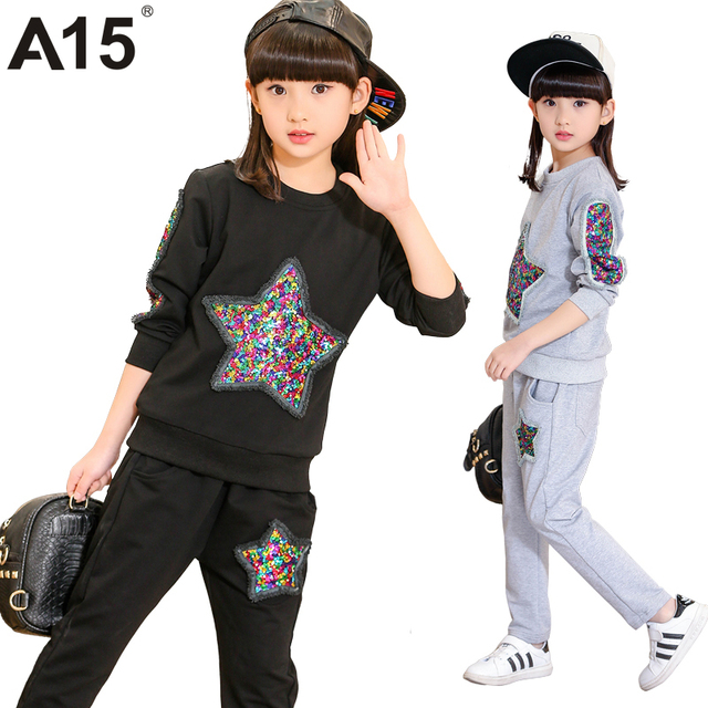A15 Tracksuit Girls Sports Suits Fashion Toddler Girl Clothing Sets 2017 Spring Autumn Sequin Outfit Clothes Size 4 6 12 14 Year