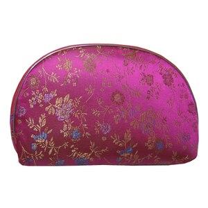 Luz de viagem 5 pçs = 1 conjunto de bolsas de jóias saco com fecho de correr bolsa de moedas mulheres brocado de seda cosméticos maquiagem saco de armazenamento presente chinês
