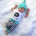 3 PCS Macacão de Bebê Recém-nascido Meninos Meninas T SHIRT Calças Listradas Chapéus Outfits Set Roupa AUSTRÁLIA
