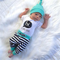 3 UNIDS Bebé Recién Nacido Niños Niñas Camiseta de Los Mamelucos Pantalones A Rayas Sombreros Trajes Set Ropa AUSTRALIA
