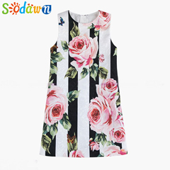 Sodawn-European-and-American-Style-Print-Striped-Dress-Summer-2018-Children-Clothing-Girls-Clothes-Wear-Dress
