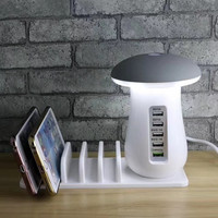 Quick Charge 3.0 USB Charger Hub Mushroom Lamp Travel Charger 5 Port Adapter Phone Charging LED Mushroom Desk Light Night Light