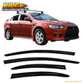 For 2008-2015 Mitsubishi Lancer & Evo Smoked Aero JDM Deflectors Stick On Window Visors USA Domestic Free Shipping