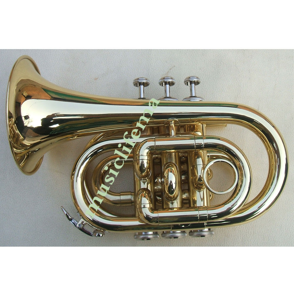 New Gold Plated MONEL PISTON POCKET MINI Bb TRUMPET