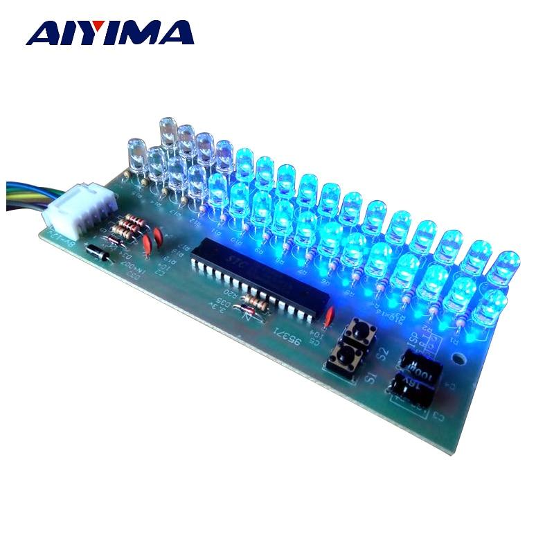Aiyima VU-Pegelanzeige Verstärkerplatine Zweikanal-LED-MCU mit einstellbarer Anzeigemuster-LED Blaue Farbe