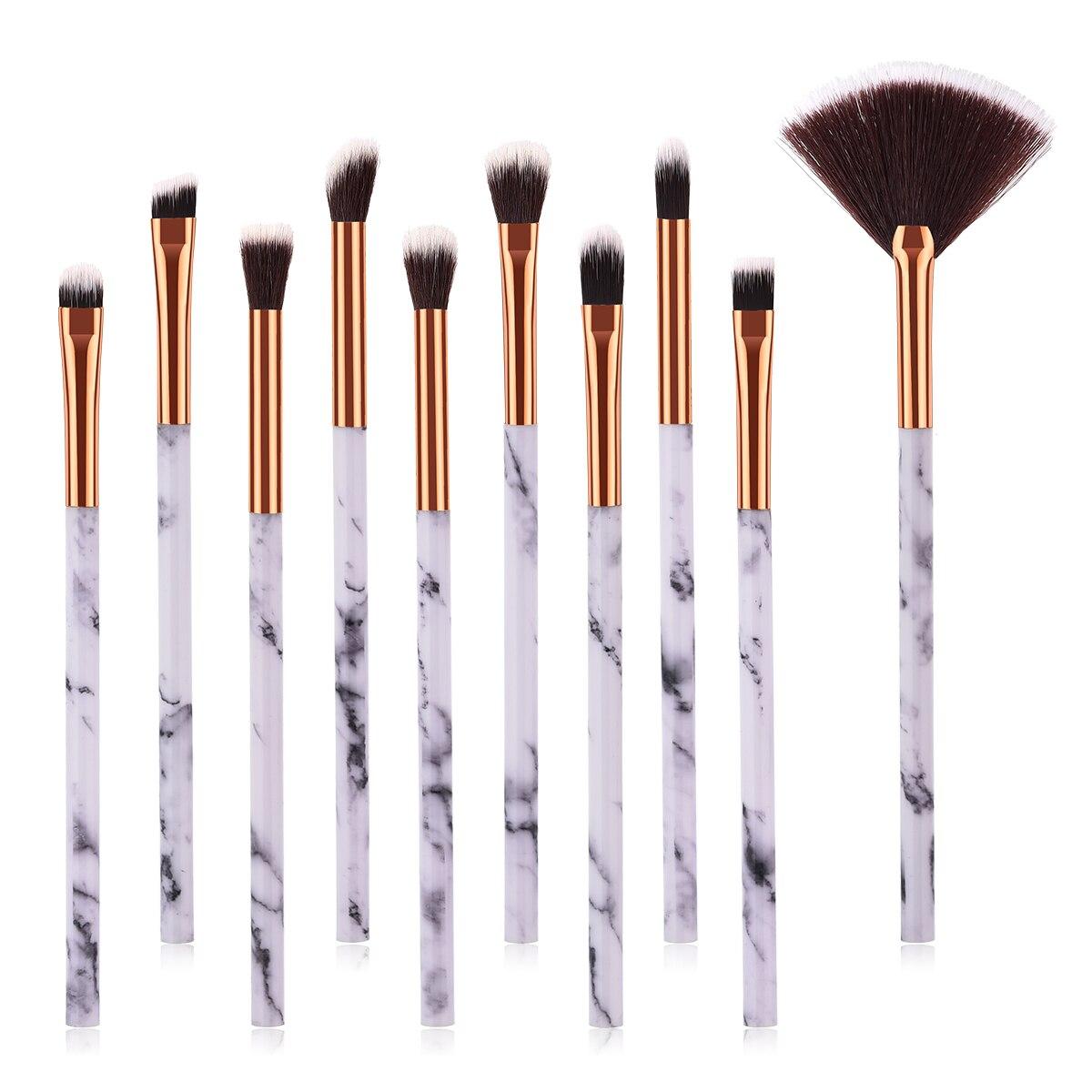 ELECOOL 10 шт./компл. щетку с Мрамор текстуры ручка нейлон волос для макияжа глаз Кисть косметическая кисть для теней инструменты