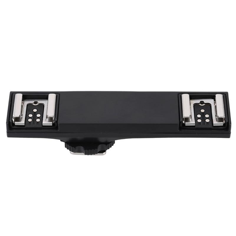 Dual Hot Shoe Flash Speedlite Light Bracket Splitter For Canon 7DII 70D 5DR 5DRS 5DIII 6D