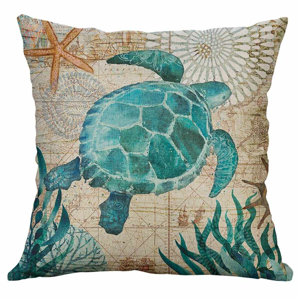 Pillow Case Marine Life Coral Sea Turtle Seahorse Whale Octopus Cushion Cover Pillow Cover Lumbar Pillow fashion Hot New Jan21