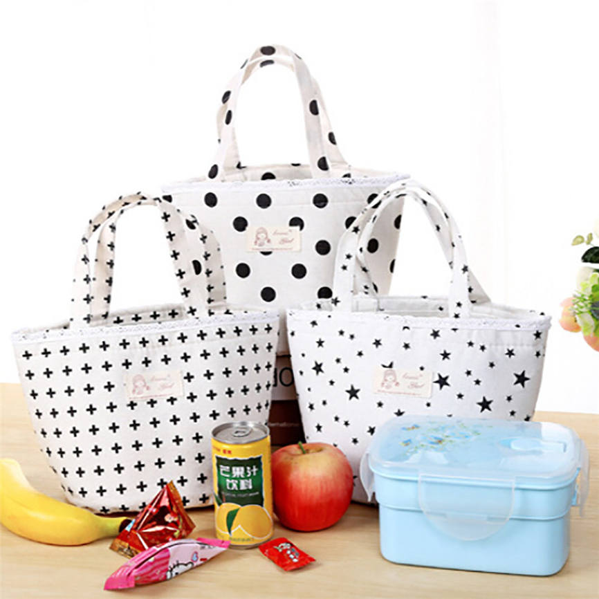 New Quality 2017 Linen Thermal Insulated Lunch Box Cooler Bag Tote Bento Pouch Lunch Container 19*15*17cm Wholesale &918