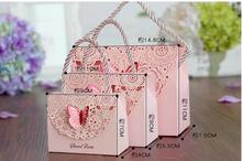 11*7.5cm Wedding candy box creative hollow carved fold butterfly wedding gift Chinese exquisite