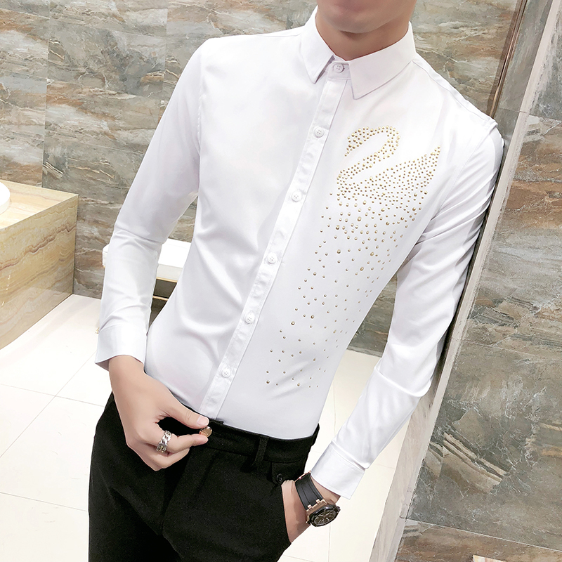 7055e07f0b Gold Swan Print Shirt Men Black White Shirt Men Wedding Prom Designer  Shirts Men Slim Fit Long Sleeve Party Club Shirt 3xl-in Casual Shirts from  Men's ...