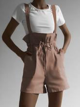 High Waist Strap Sashes Women's Jumpsuit 2019 Summer Solid Shorts Playsuit Casual Pockets Slim Rompers Overalls Femme