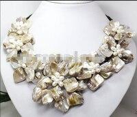 Güzel barok beyaz inci yedi MOP shell çiçek Önlük kolye ^^^@^ Asil tarzı Doğal Ince jewe ÜCRETSIZ KARGO