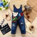 9 M-24 M Bebê Menina Roupas Bebe Menino Calça Jeans Macacão Jeans Macacão Animais Vaca Calças Compridas Dos Desenhos Animados Kwaii Rompers Roupa Da Criança