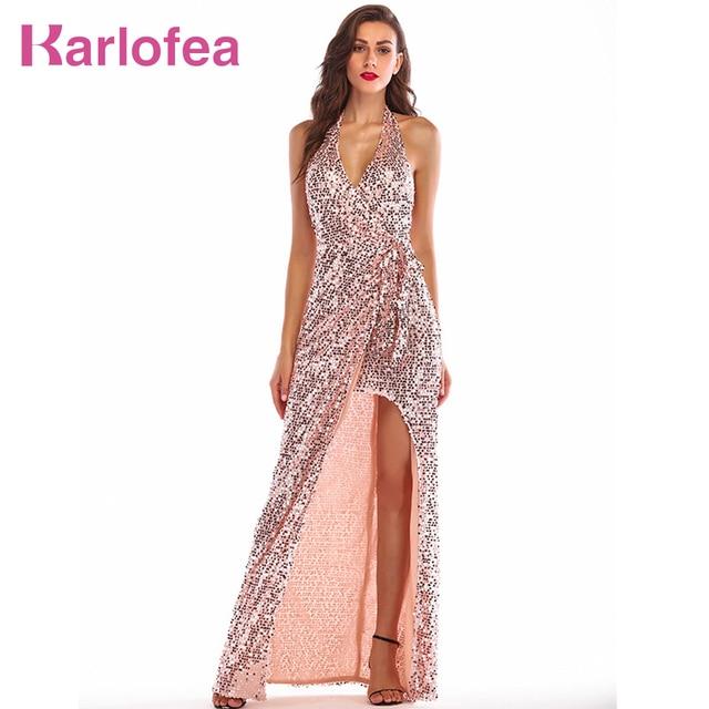 2889c6515ded € 25.52 39% de DESCUENTO Karlofea mujeres noche fiesta Maxi Vestido  elegante Halter Rosa oro lentejuelas Vestido largo Sexy espalda descubierta  alta ...