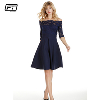 Fitaylor Spring Summer Evening Party Dresses Women Slash Neck Off The Shoulder Sexy Lace Dress Solid