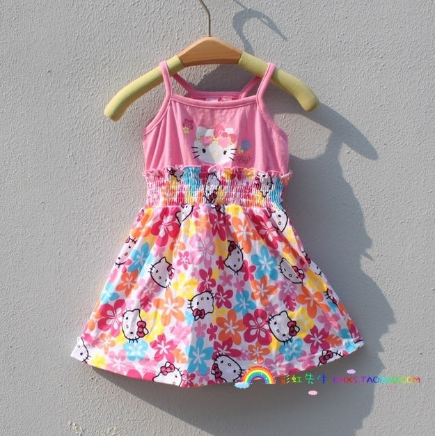 Sweet female child tank dress one-piece dress 1 - 5
