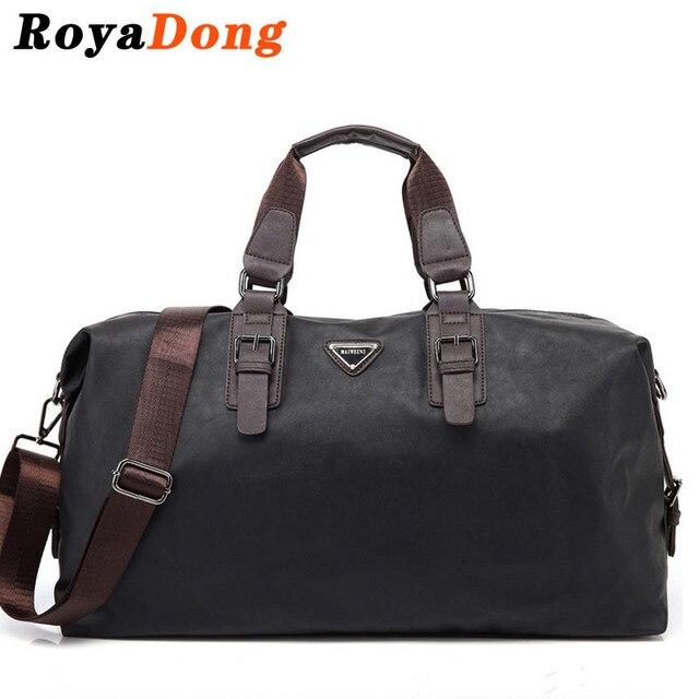 RoyaDong 2017 Leather Travel Bag Men Big Tote Vintage Large Black Handbags Business Luggage Man's Bags