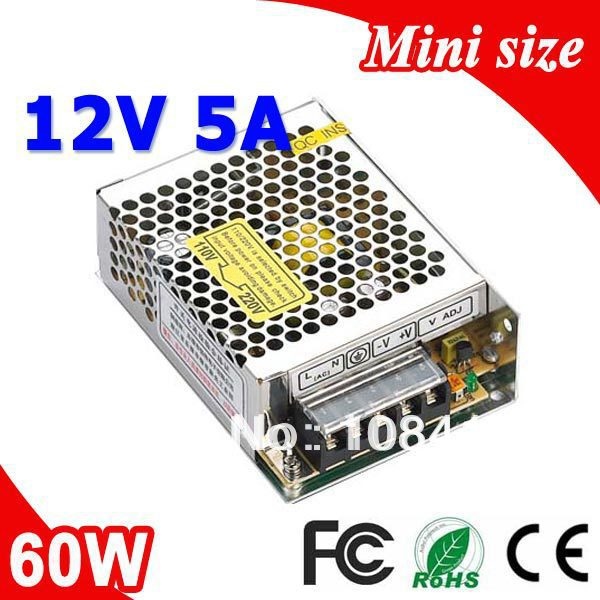 MS-60-12 60W 12V 5A Mini size LED Switching Power Supply Transformer 110V 220V AC to DC output