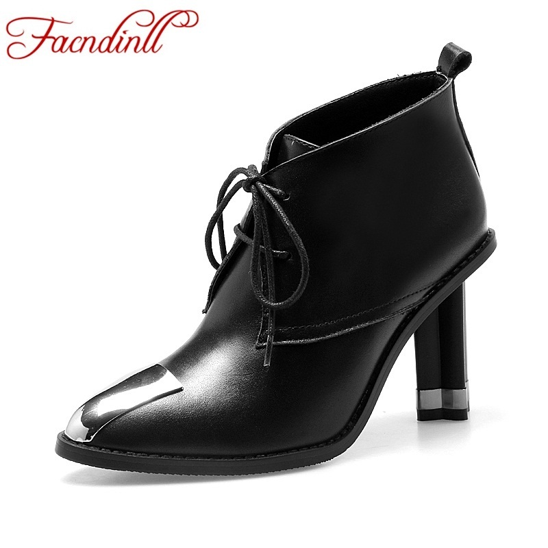 2017 spring autumn fashion boots ladies dress shoes high heels leather boots pointed toe platform lace up ankle boots for women fashion pointed toe lace up mens shoes western cowboy boots big yards 46 metal decoration