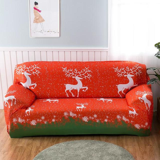 Christmas Elk Printed Sofa Cover Couch Slipcover Stretch Furniture