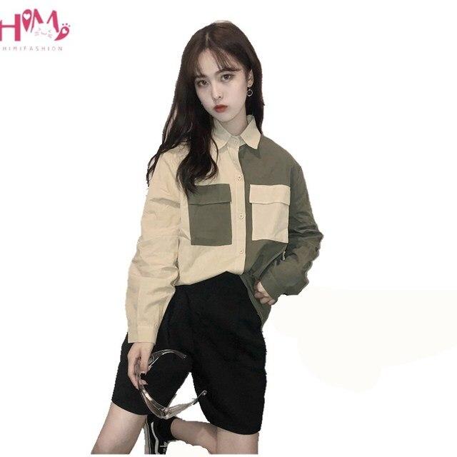 Korean Vintage Shirts Women 2019 Autumn Fashion Style Contrast Color Button Up Ladies Blouse Harajuku Long Sleeve Blusas Tops