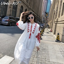 Ubei Vintage neckline tie loose lantern sleeve dress fashion embroidered cotton linen dress summer causal white long dress frill trim embroidered lantern sleeve dress