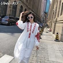 Ubei Vintage neckline tie loose lantern sleeve dress fashion embroidered cotton linen dress summer causal white long dress lantern sleeve embroidered rose applique dress