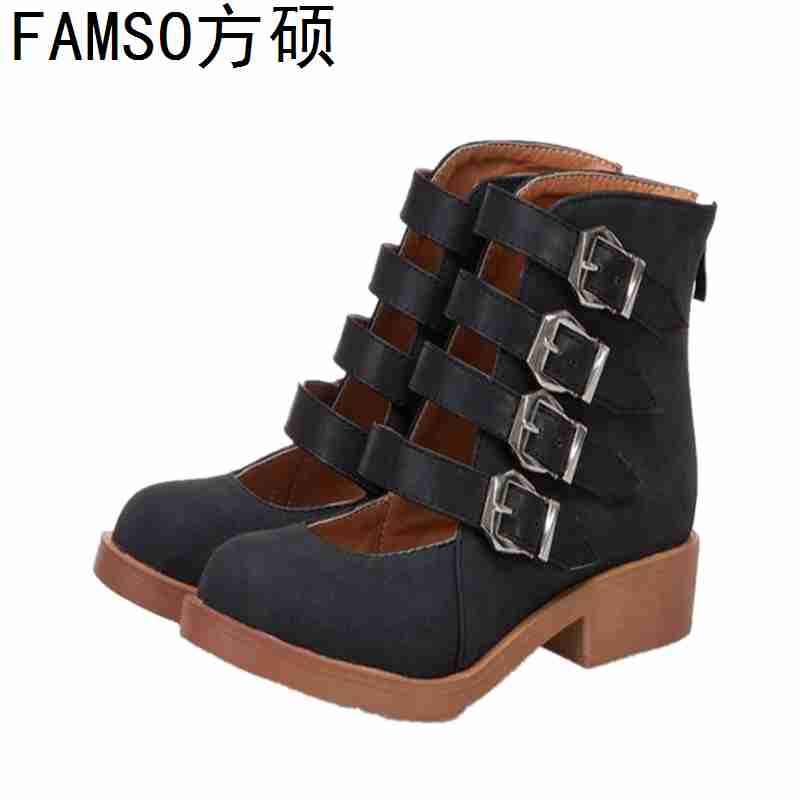 FAMSO 2019 New Arrival Women Pumps Round toe Buckle Square heels Spring Autumn Casual Shoes Designer