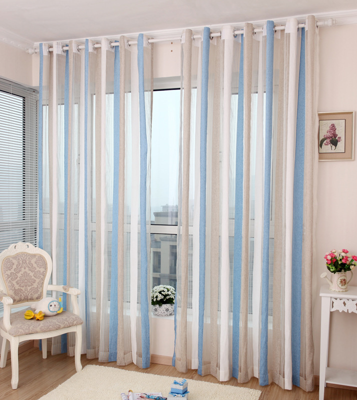 Compra cortinas de rayas verticales online al por mayor de for Precio cortinas salon