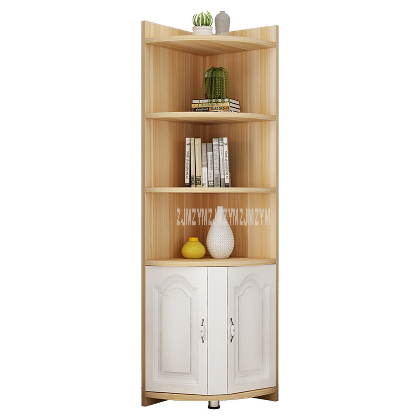 US $74.63 15% OFF|4 Tier Floor Corner Shelf Storage Cabinet Book Vase  Bookcase Rack Organizer Living Room Multi storey Corner Decorative  Bookshelf-in ...