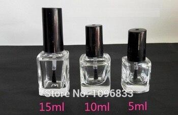 15ML 15G Nail Enamel Polish Bottle, Empty Square Glass Bottle with Brush, Nail oil packing Bottle, Enamel Bottles, 40pcs/Lot