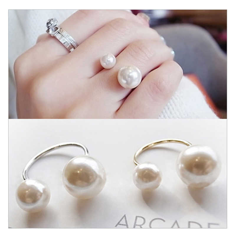 2018 Elegant Fashion Pearl Ring for women Wedding Bride rings Asymmetry Pearl Open women's Ring Girl Gift Jewelry Wholesale
