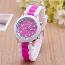reloj mujer Fashion Leisure Women's Wrist Watches Br  New Ladies watch Double Color Silicone B  Of Quartz Geneve Clock T1200030