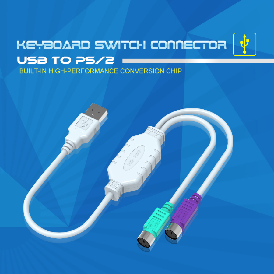 High Top Quality Usb To Dual Ps 2 Converter Cable For Keyboard Mouse Ps2 Switch Connector Male Female Conversion Switcher Adapter In Data Cables From