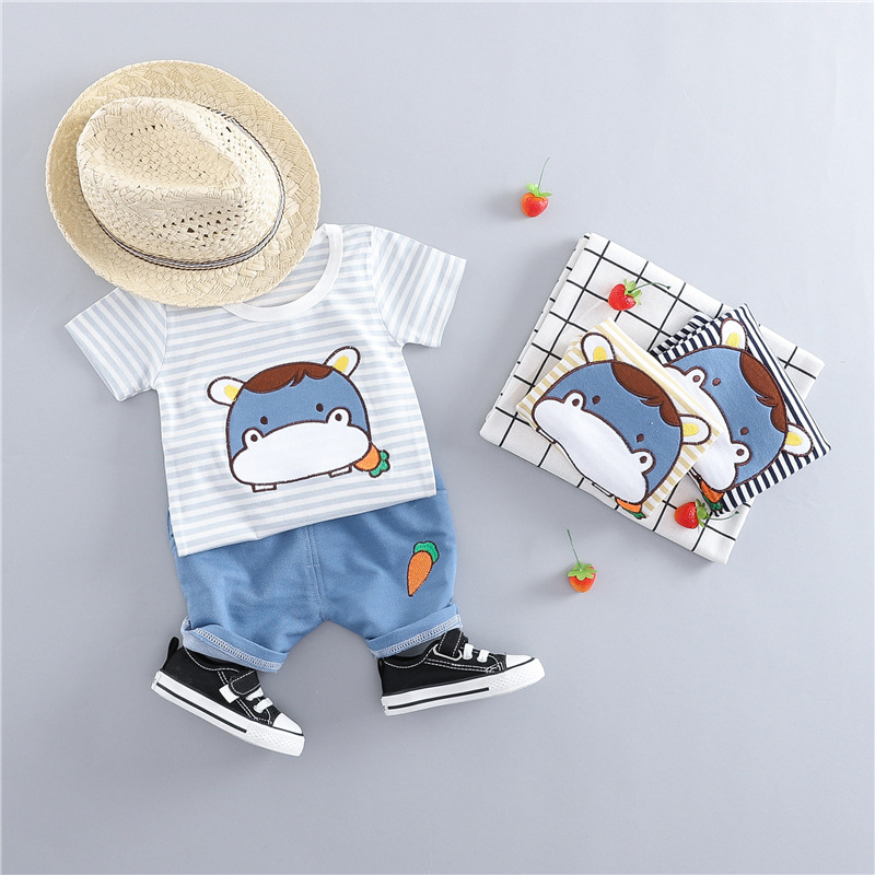 6ecc041d4 2019 جديد الصيف الطفل ملابس الأولاد تي شيرت مخطط قمصان + السراويل 2  pc/مجموعات طفل الفتيان الملابس مجموعات