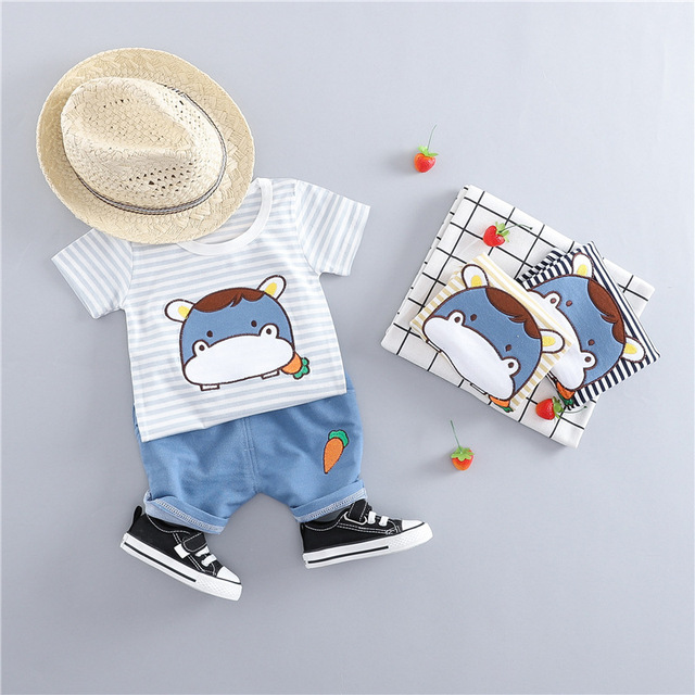 2019 New Summer Baby Boys Clothes Striped T-shirt Shirts + Pants 2pc/sets  Baby Boys Clothes Sets