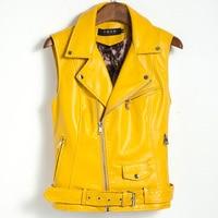 2018 Plus Size Women Coat Leather Vest Womens Tank Top Fashion Real Photos Sashes Rivets Cool Slim Vest Coats Casual Veste Femme