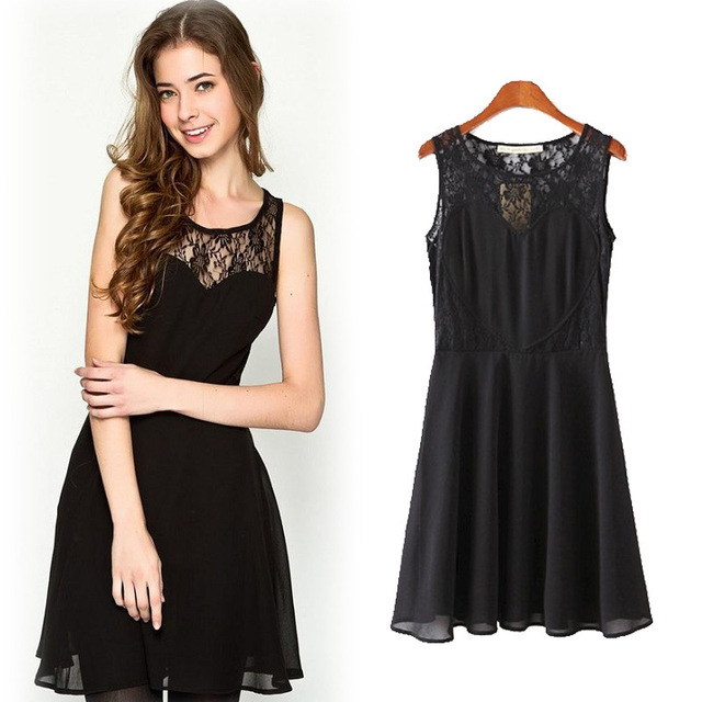 Black Color Sexy Lace Dress Spring Summer Chiffon Lace Crochet Dress