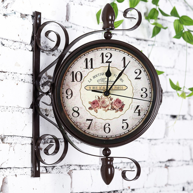 Outdoor  Garden  Bird  Double-sided  Clock  Rome Bell with Iron Creative Silence Core Exquisite Design Exquisite Workmanship.