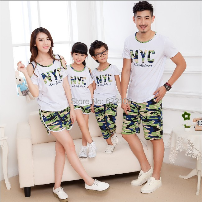2015 Matching Father Mother Daughter Son Clothes Family Look Family Matching Clothes Sets Parent-child Outfit  Ma e Filha father–daughter incest