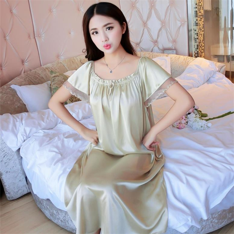 2018 NEW Summer Ice Silk   Nightgown   Female Home Service Loose Plus size Comfort Imitation Silk Sexy Pregnant Woman Nightdress Z37
